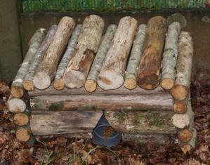 Abri pour hérisson en rondins de bois