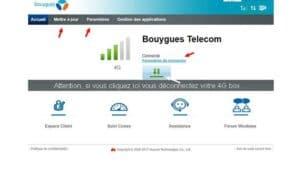 Écran connexion Bouygues telecom