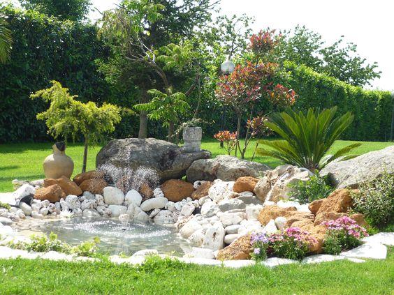 Parterre aménagé avec fontaine, exemple