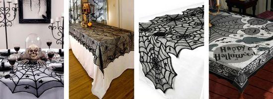 Des nappes façon toiles d'araignée pour Halloween