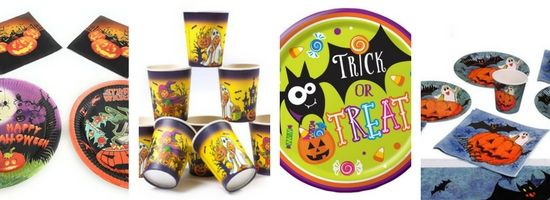 Assiettes et gobelets en carton décor d'halloween