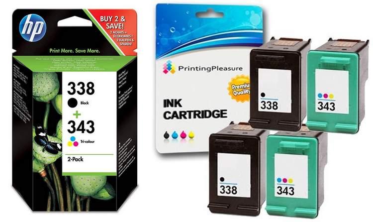 Cartouches d'encre 338 et 343 marque HP et compatible